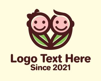 Pediatric - Twin Baby Swaddle logo design
