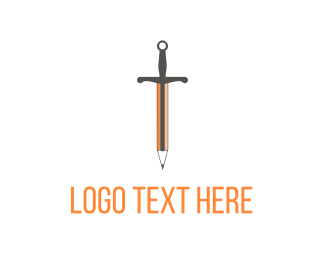 Illustration - Orange Sword Pencil logo design