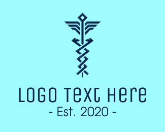 Staff Of Hermes - Modern Pharmacy Symbol logo design