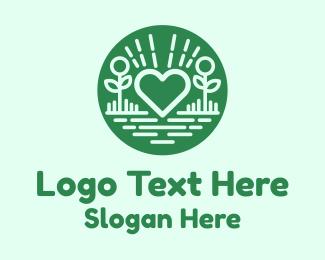 Garden - Love Heart Garden logo design