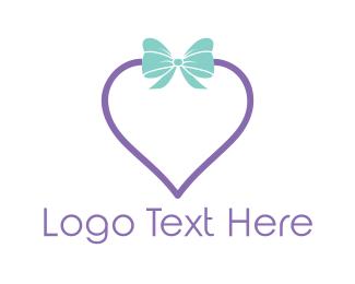 Bow - Heart Gift logo design