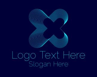 Game Stream - Blue Tech Letter X logo design