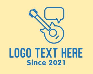 Drum School - Blue Guitar Chat logo design