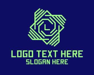 Gaming - Neon Tech Spiral Letter logo design