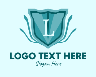Purple Shield - Blue Emblem Lettermark  logo design