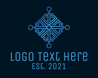 Metal - Intricate Blue Cross Relic  logo design