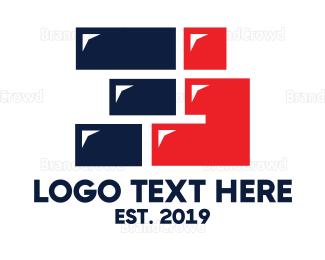 Blocks - Blue Red Three Shape logo design