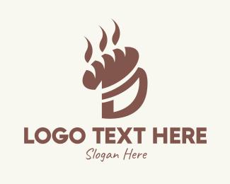 Boulangerie - Brown Bread Letter D logo design