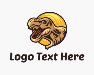 Dinosaur - Tyrannosaurus Rex Circle logo design