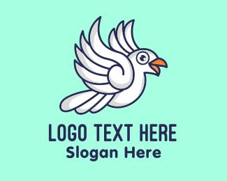 Dove - Flying White Dove Cartoon logo design