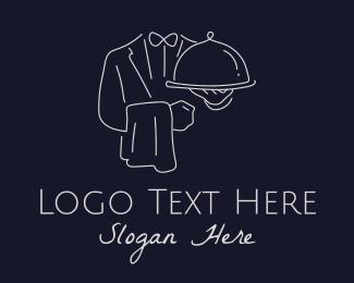 Platter - Premium Butler Line Art  logo design