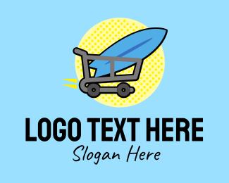 Surf Store - Surfing Surfboard Shopping Cart logo design