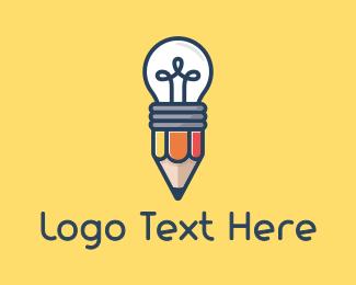 Author - Pencil Bulb logo design