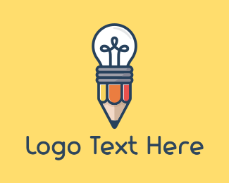Writer - Pencil Bulb logo design