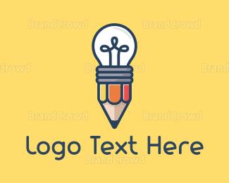 Nursery - Pencil Bulb logo design