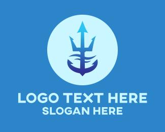 Cruise Liner - Blue Trident Anchor logo design