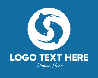 Fish Farm - Blue Fish Letter S logo design