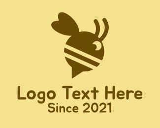 Tracker App - Bee Speech Bubble logo design