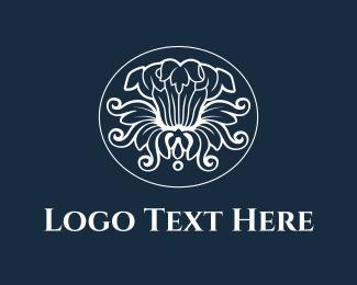 Art Deco - White Flower logo design