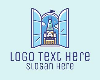 Clock - Big Ben Clock Tower Window logo design