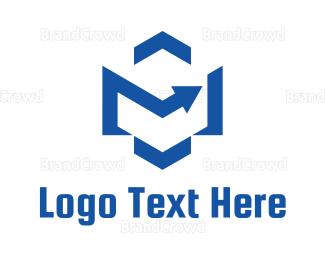Right - Modern Hexagon Arrow logo design