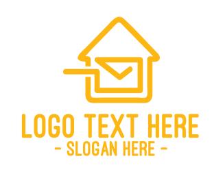 Mailman - Mail House Stroke logo design