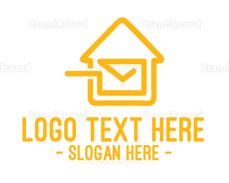 Post Office - Mail House Stroke logo design