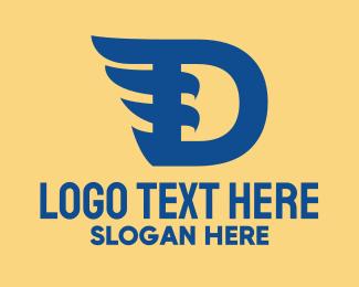Ornithology - Blue D Wing logo design