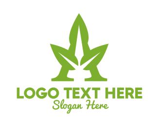 Agave - Green Triple Leaf A logo design