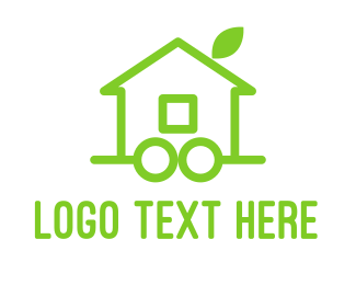 Home Improvement - Green Eco Wheel House logo design