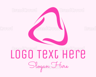Rotation - Black Wavy Triangle logo design