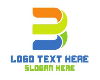 Number 3 - Colorful Cursive B logo design