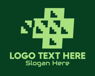 Medical Technology - Green Tech Cross  logo design