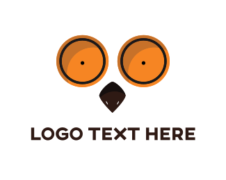 Wow - Orange Owl Eyes logo design