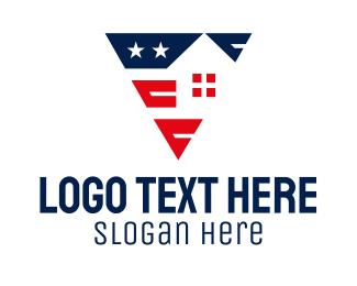 Builder - Patriotic House Builder logo design