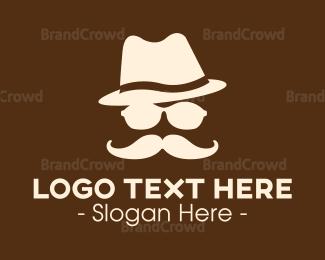 Moustache - Mysterious Moustache Guy logo design