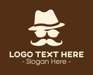 Detective - Mysterious Moustache Guy logo design