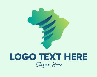 Sao Paulo - Brazil Wings Map  logo design