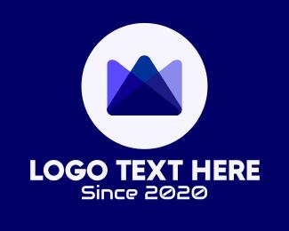 Coronation - Blue Tech Crown logo design