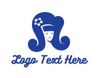 Blue Hair - Blue Retro Beauty Big Hair Hairspray logo design