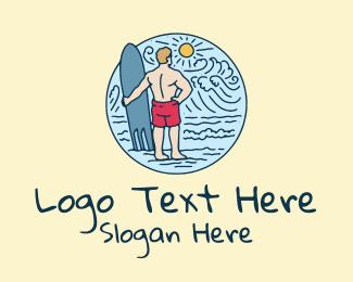 Lifeguard - Surfboard Surfer Wave logo design