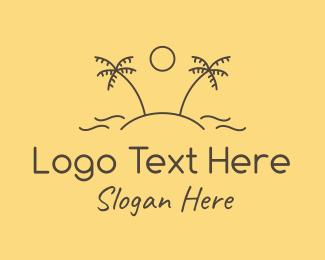 Tropical Oasis Beach Island Logo Maker