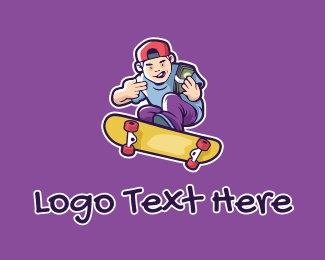 Professional Skateboarder - Rich Skater Boy  logo design