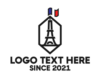 French - Hexagon Tower logo design