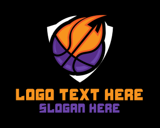 Fire - Basketball Fire Shield logo design