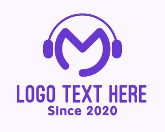 Playlist - Purple Disc Jockey Letter M logo design