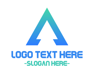 Simple - Triangular Blue Letter A logo design
