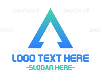 Aspen - Triangular Blue Letter A logo design