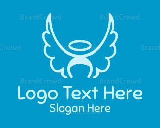 Cupid - Blue Angel Wings & Halo logo design