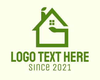 Initial - Green Eco House logo design